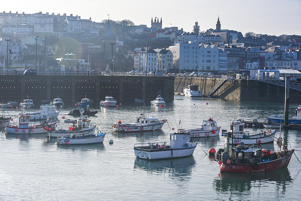 Little fishing boats in the harbour of Saint Peter Port, Guernsey, Channel Islands, United Kingdom, Europe
