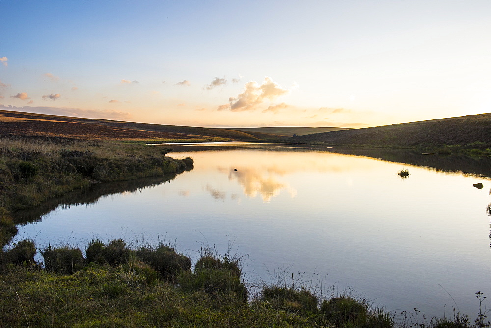 Clouds reflecting in a little lake at sunset, Nyika National Park, Malawi, Africa