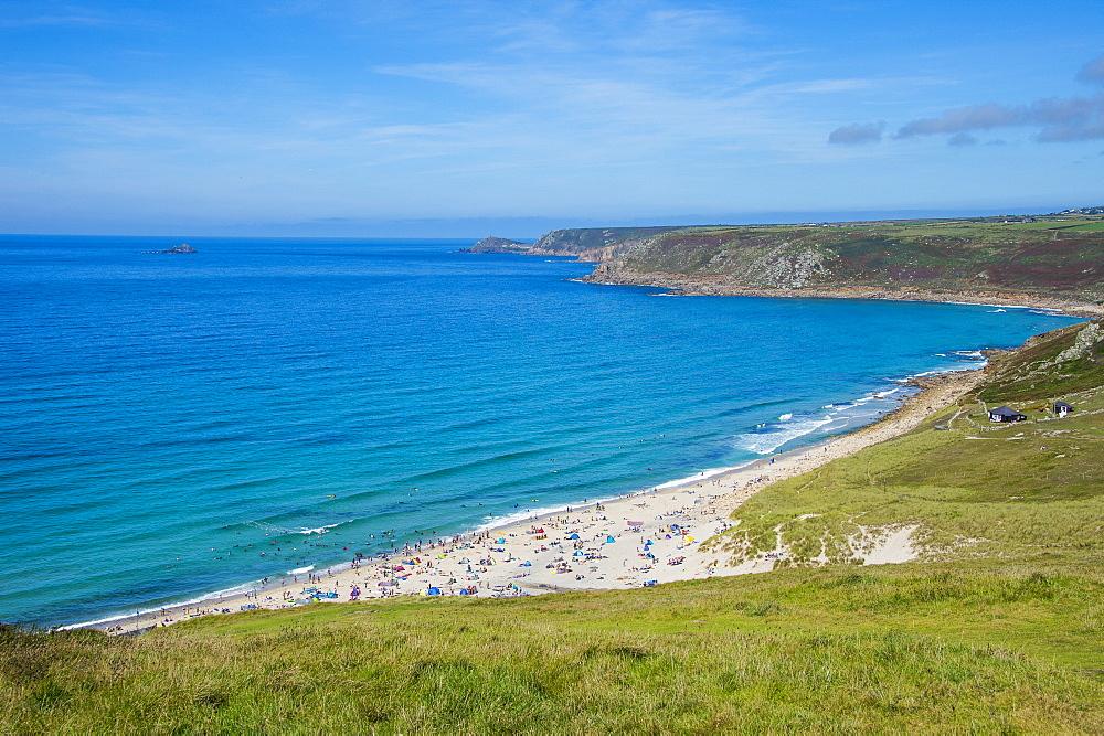 View over Sennen Cove, Cornwall, England, United Kingdom, Europe