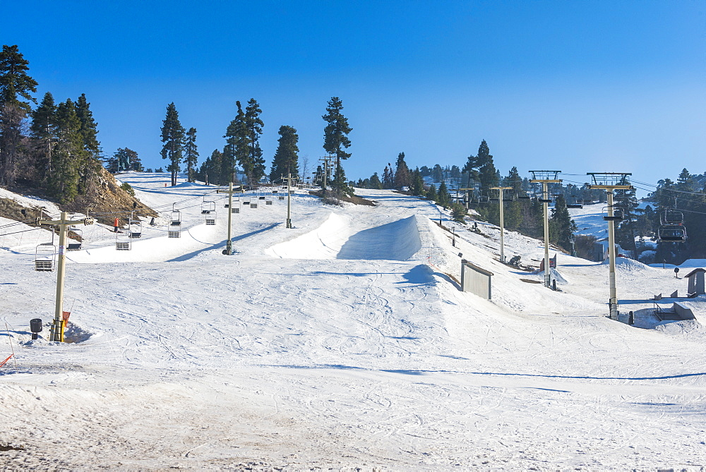 Ski resort of Big Bear in spring, San Bernadino mountains, California, USA
