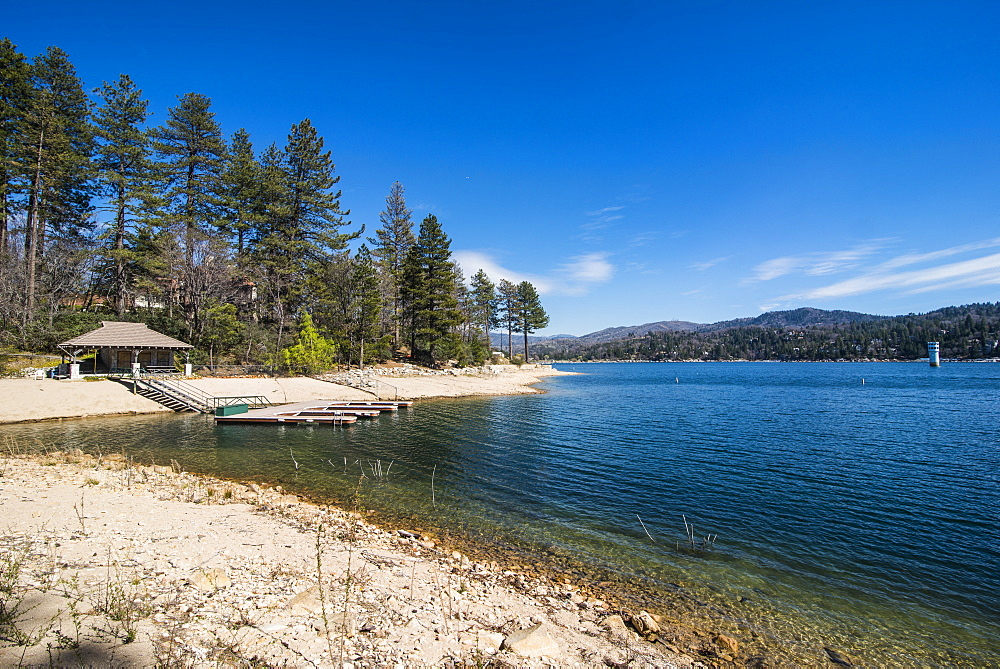 Shoreline of Lake Arrowhead, San Bernardino mountains, California, USA
