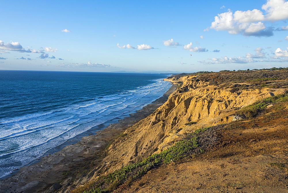 Sandstone cliffs at sunset, Torrey Pines, California, United States of America, North America