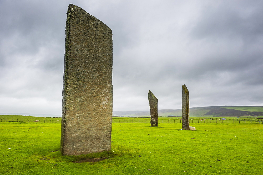 Unesco world heritage sight the Standing Stones of Stenness, Orkney Islands, United Kingdom - 1184-1876