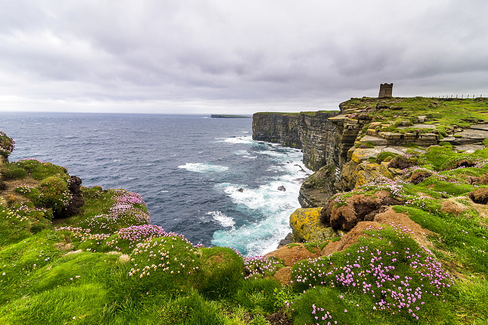 High above the cliffs, the Kitchener Memorial, Orkney Islands, Scotland, United Kingdom, Europe