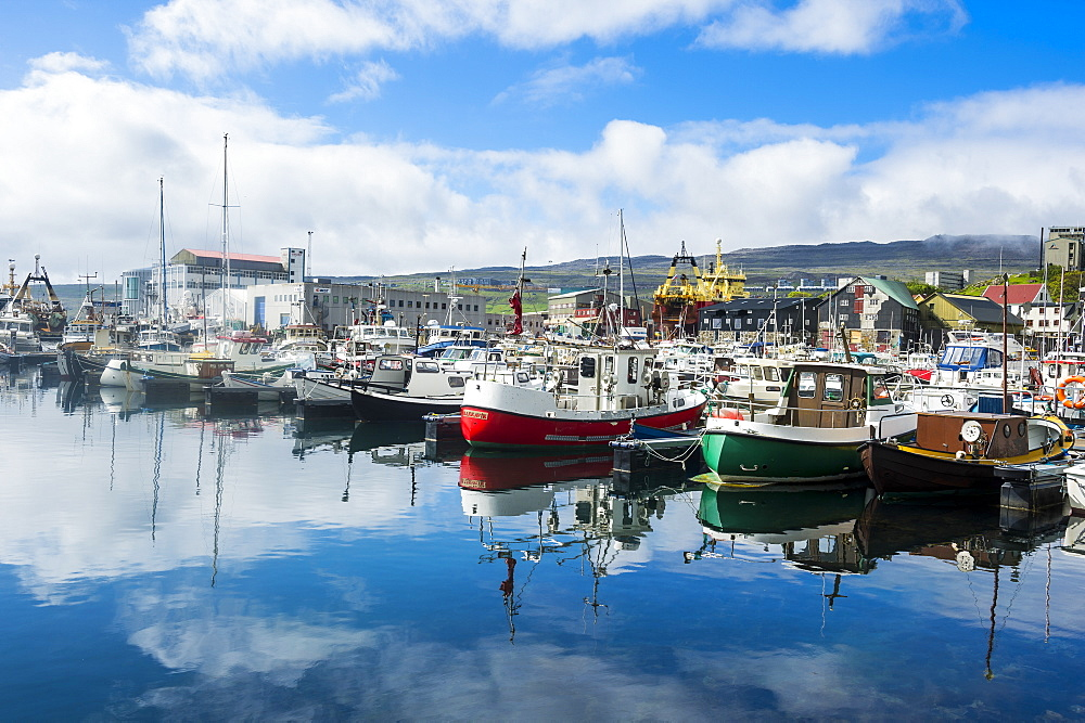 Harbour of Torshavn, capital of Faroe Islands, Streymoy, Faroe Islands, Denmark, Europe