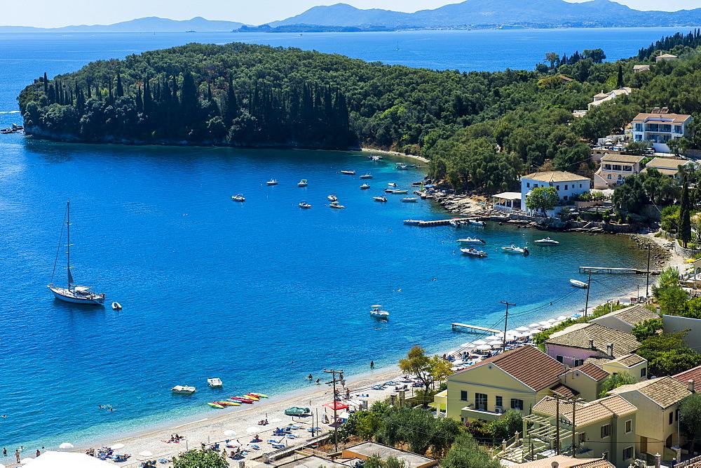 Overlook over the bay of Kalami, Corfu, Ionian Islands, Greek Islands, Greece, Europe - 1184-2218