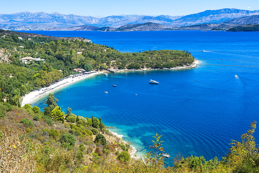 View over Kerasia beach, Corfu, Ionian islands, Greek Islands, Greece, Europe