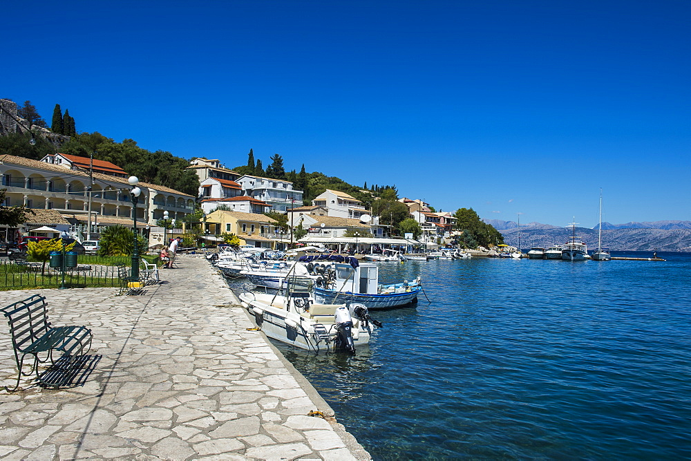 Harbour of Kassiopi, northern Corfu, Ionian islands, Greek Islands, Greece, Europe