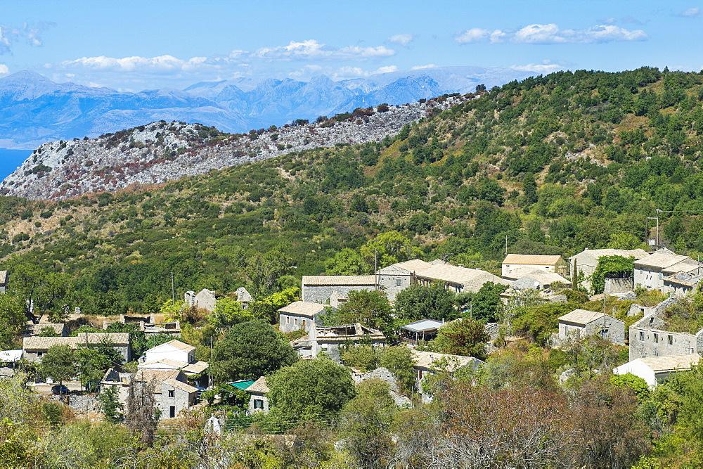 The mountain village of old Perithia, Corfu, Ionian islands, Greek Islands, Greece, Europe - 1184-2224