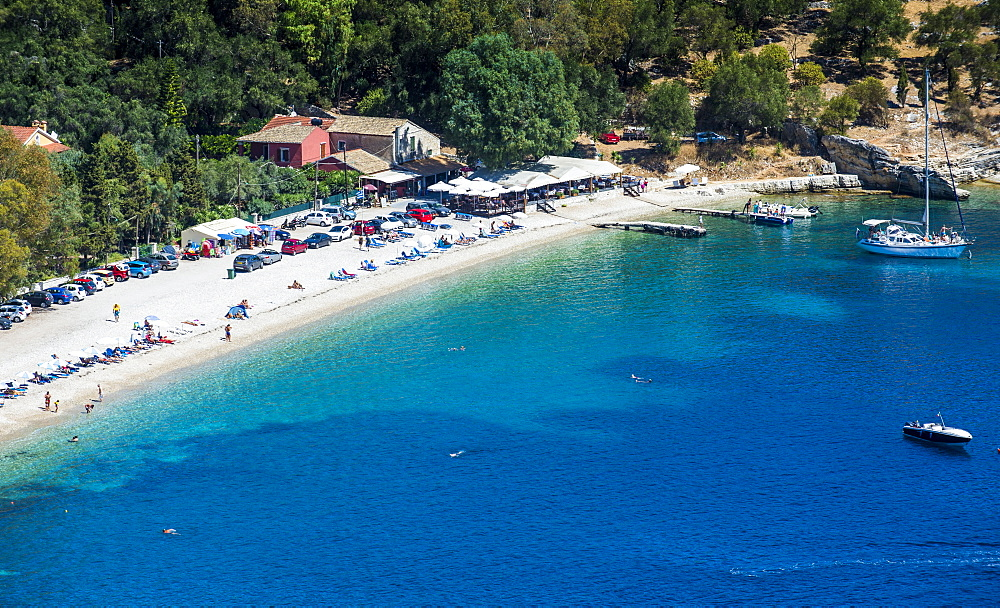 View over Kerasia beach, Corfu, Ionian islands, Greek Islands, Greece, Europe - 1184-2225