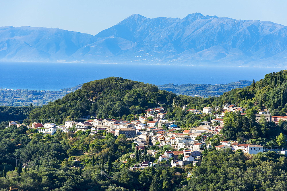 Little mountain village in the interior, Corfu, Ionian islands, Greek Islands, Greece, Europe