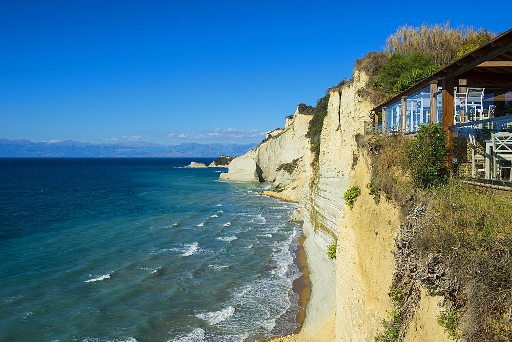 Loggas beach cliff, Corfu, Ionian islands, Greek Islands, Greece, Europe - 1184-2229