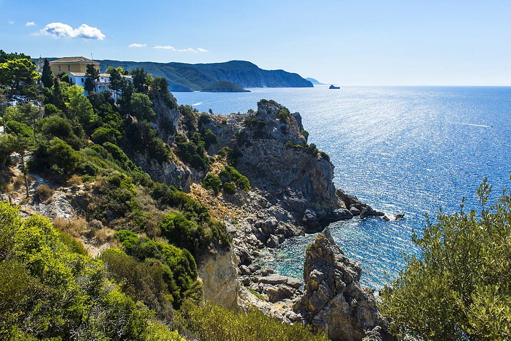 Beautiful coastline, Paleokastritsa, Corfu, Ionian islands, Greek Islands, Greece, Europe - 1184-2230