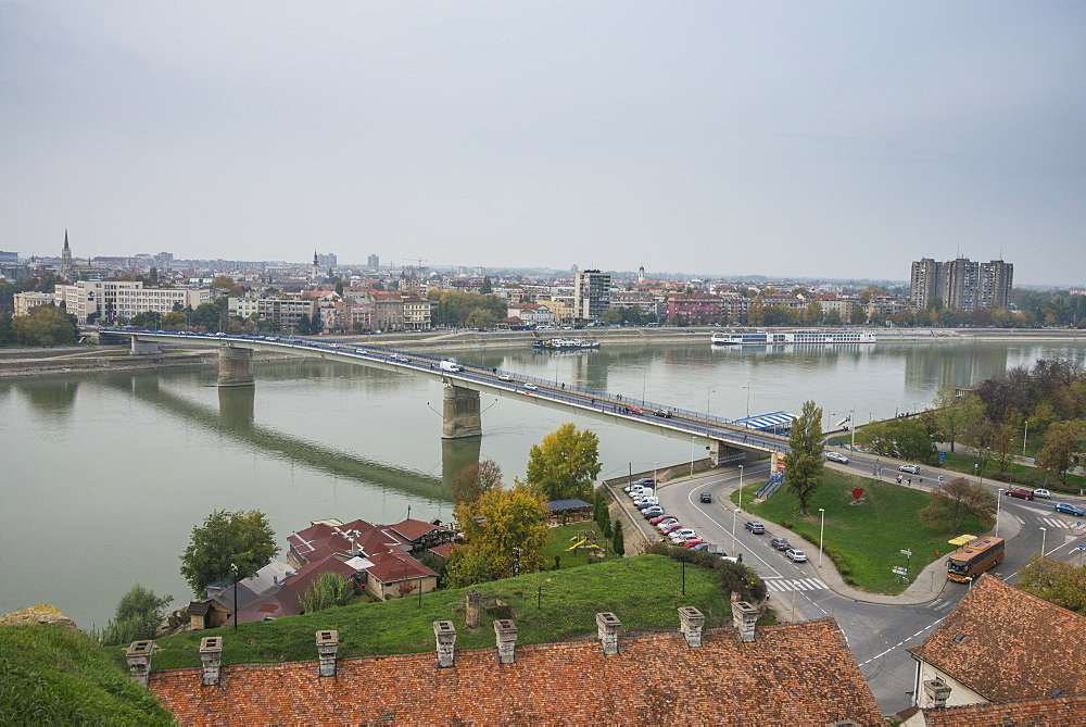 View over the River Danube from Kastel Fortress, Banja Luka, Serbia, Europe