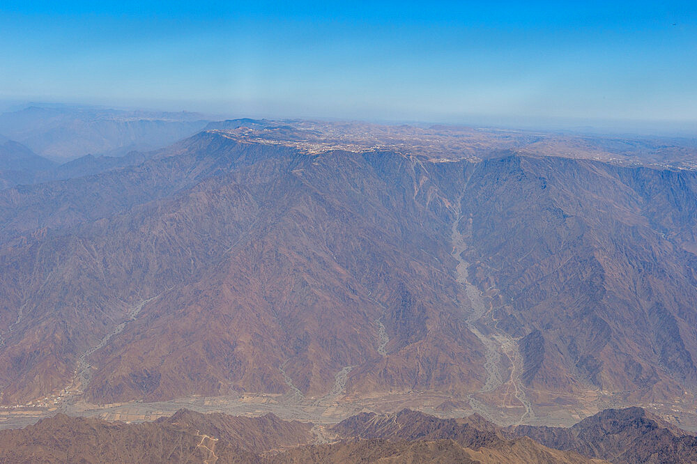 Aerial of the mountainous region around Abha, Saudi Arabia, Middle East