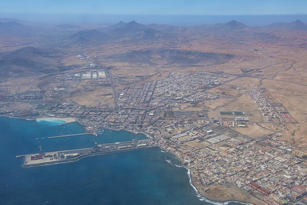 Aerial of the town of Puerto del Rosario, Fuerteventura, Canary Islands, Spain, Atlantic, Europe