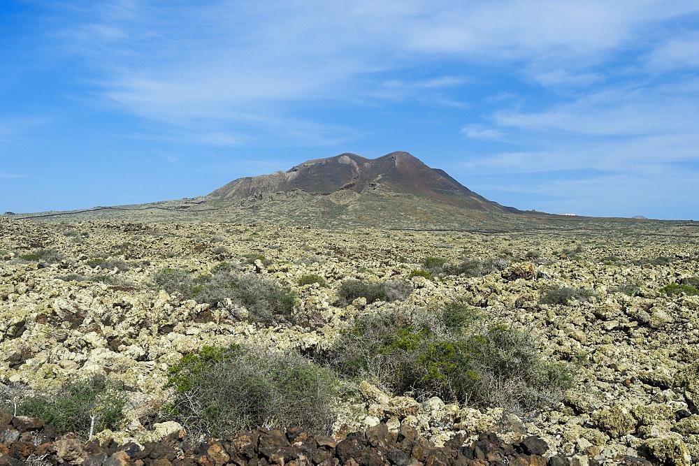 Green volcanic cone, La Oliva, Fuerteventura, Canary islands, Spain