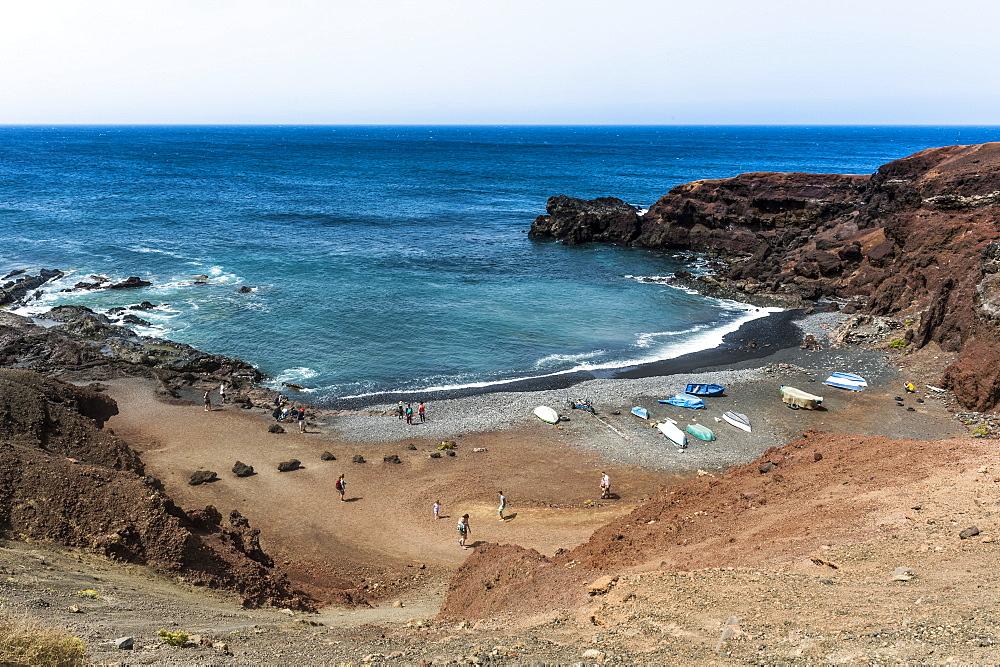 Small bay in El Golfo, Lanzarote, Canary Islands, Spain, Atlantic, Europe
