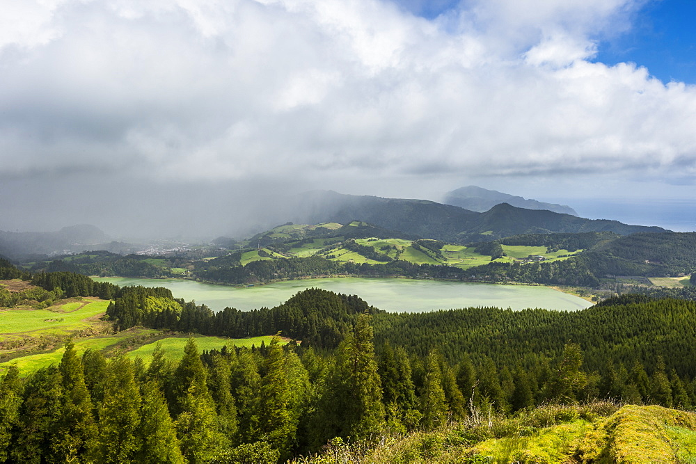 Furnas Lake from the Castelo Branco viewpoint, Island of Sao Miguel, Azores, Portugal, Atlantic, Europe