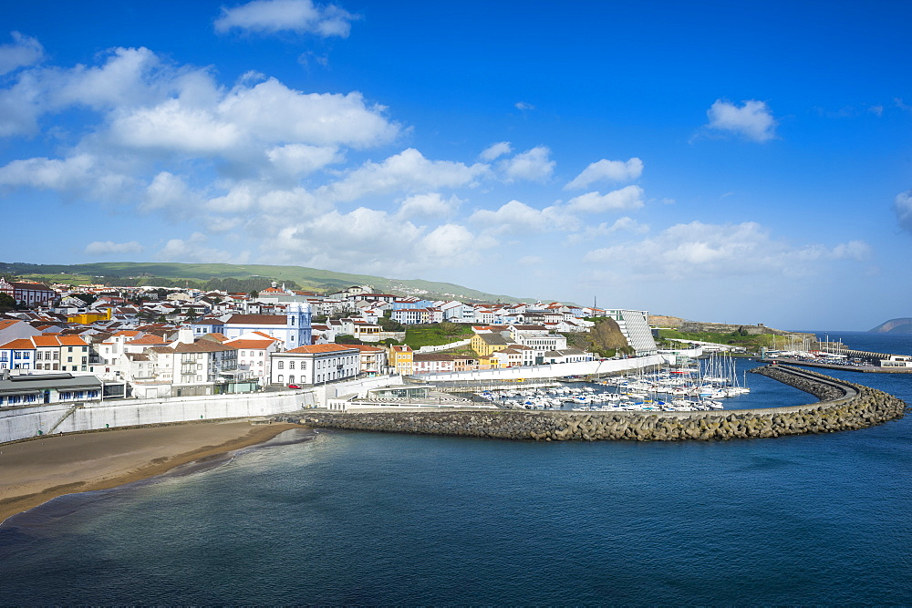View over the town of Angra do Heroismo, UNESCO World Heritage Site, Island of Terceira, Azores, Portugal, Atlantic, Europe