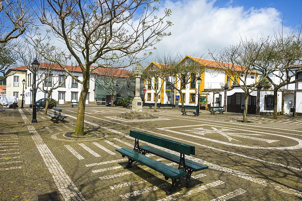 Town square of Sao Sebastiao, Island of Terceira, Azores, Portugal