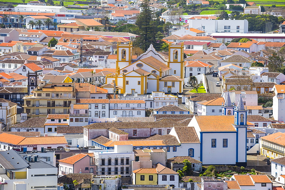 Overlook over Praia da Vittoria from the Gazebo torch monument, Island of Terceira, Azores, Portugal - 1184-2514