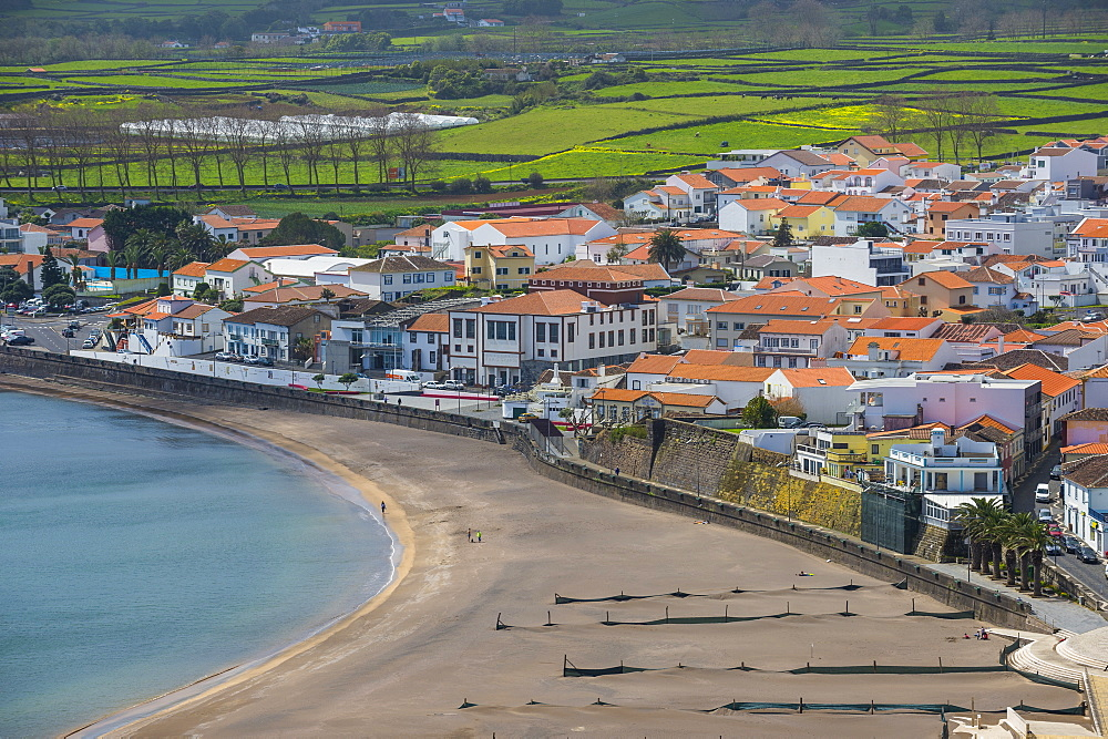 View over Praia da Vittoria from the Gazebo Torch Monument, Island of Terceira, Azores, Portugal, Atlantic, Europe - 1184-2515