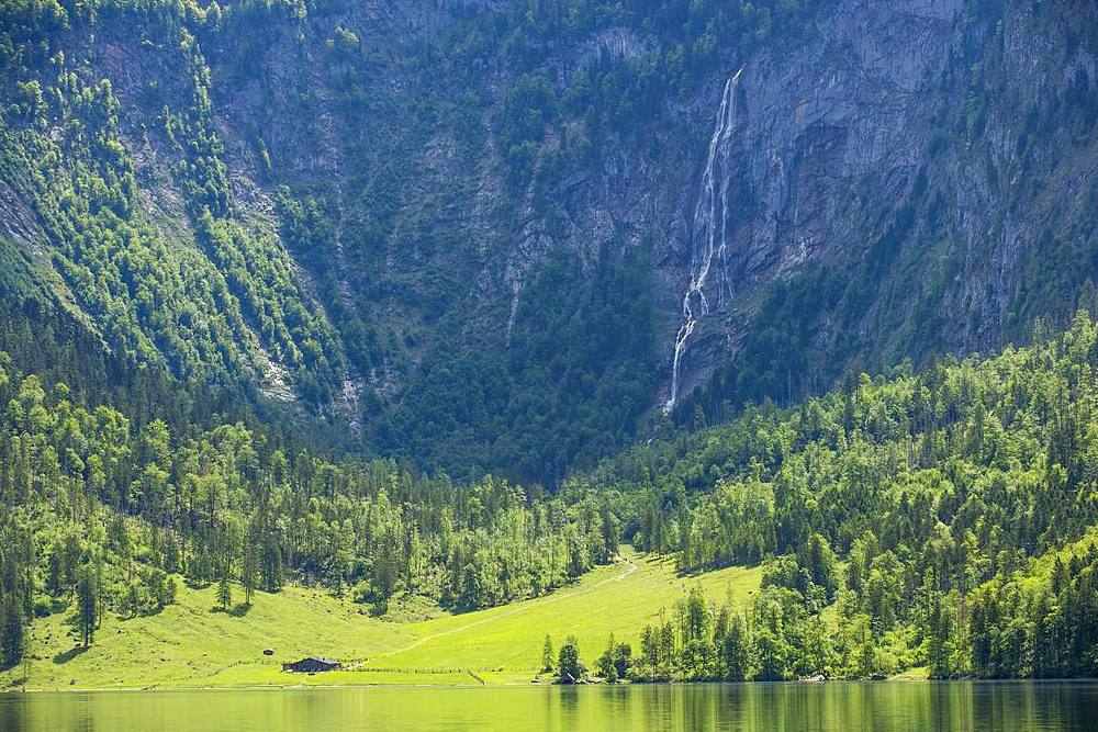 Lake Obersee close to the lake Koenigssee, Berchtesgaden, Bavaria, Germany, Europe - 1184-2525
