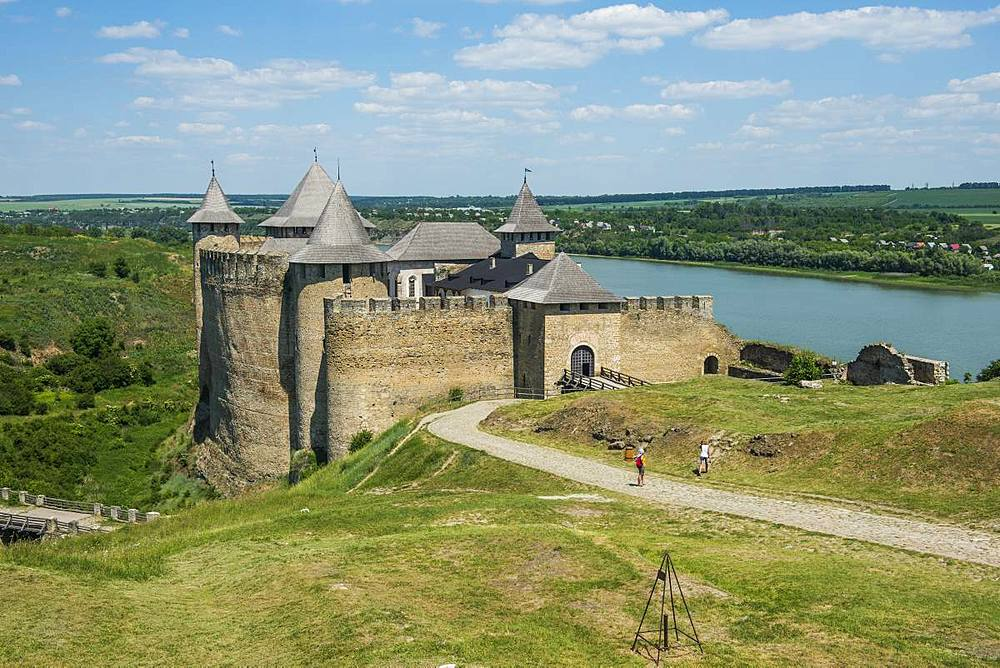 Khotyn Fortress on the river banks of the Dniester, Ukraine, Europe - 1184-2554