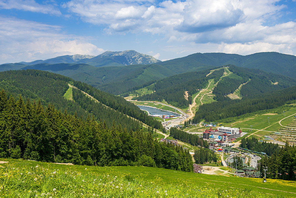 View over the Bukovel ski resort, Carpathian Mountains, Ukraine, Europe