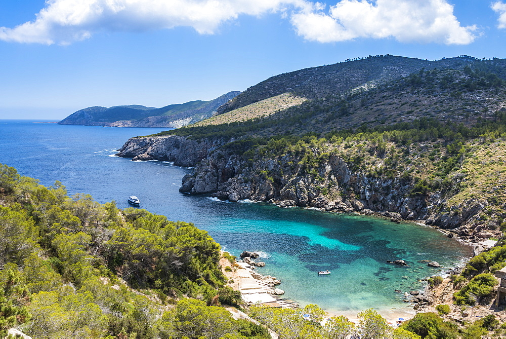 Coastline over Cala D'en Serra beach, Ibiza, Spain
