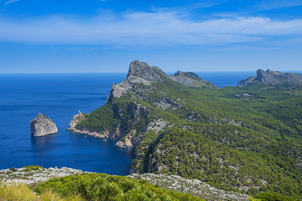View over Cala Formentor beach, Cap Formentor, Mallorca, Balearic Islands, Spain, Mediterranean, Europe