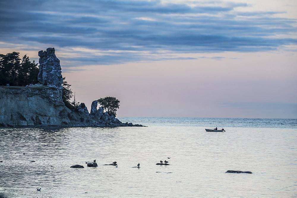 Jungfrun sea stack at sunset, Gotland, Sweden, Scandinavia, Europe