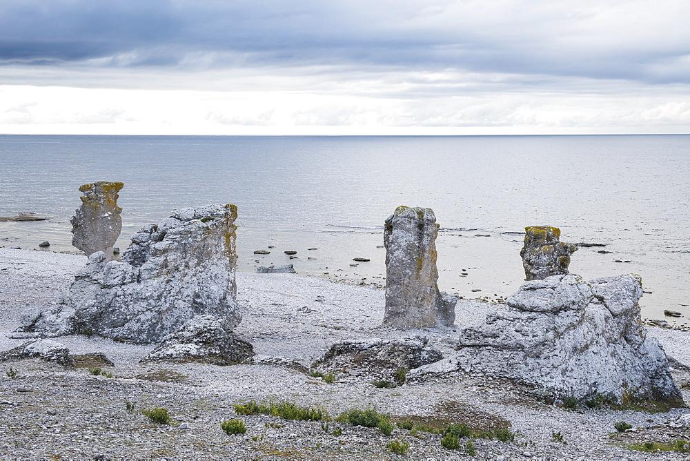 Unique Langhammars sea stacks, Faro, Gotland, Sweden