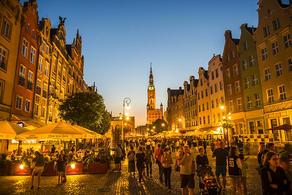 Hanseatic League houses with the town hall after sunset in the pedestrian zone of Gdansk, Poland, Europe