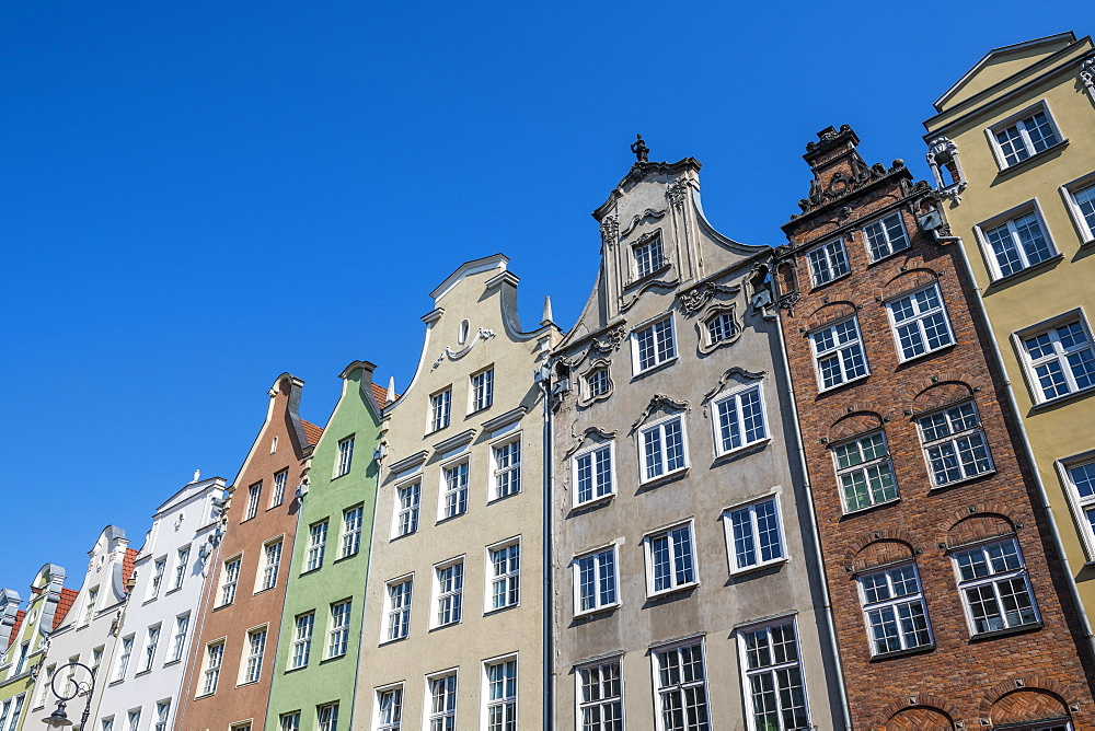 Hanseatic League houses in the pedestrian zone of Gdansk, Poland, Europe
