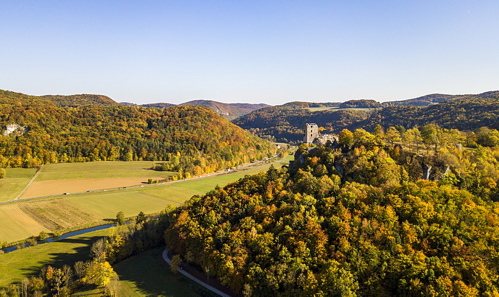 Aerial of castle Neideck in autumn, Streitberg, Franconian Switzerland, Germany (drone)