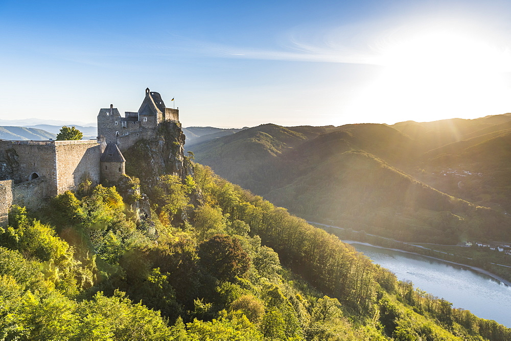 Castle Aggstein overlooking the Danube in the Wachau at sunset, Austria