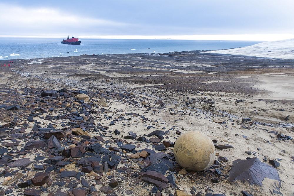 Giant stone sphere, Champ Island, Franz Josef Land archipelago, Arkhangelsk Oblast, Arctic, Russia, Europe