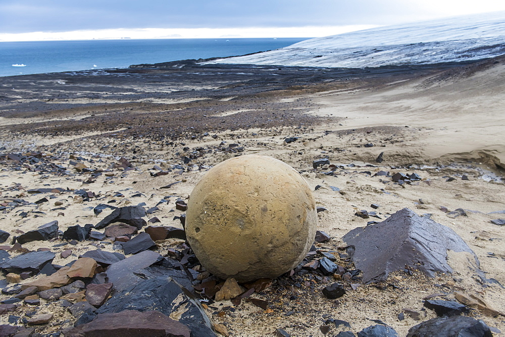 Giant stone sphere, Champ Island, Franz Josef Land archipelago, Arkhangelsk Oblast, Arctic, Russia, Europe