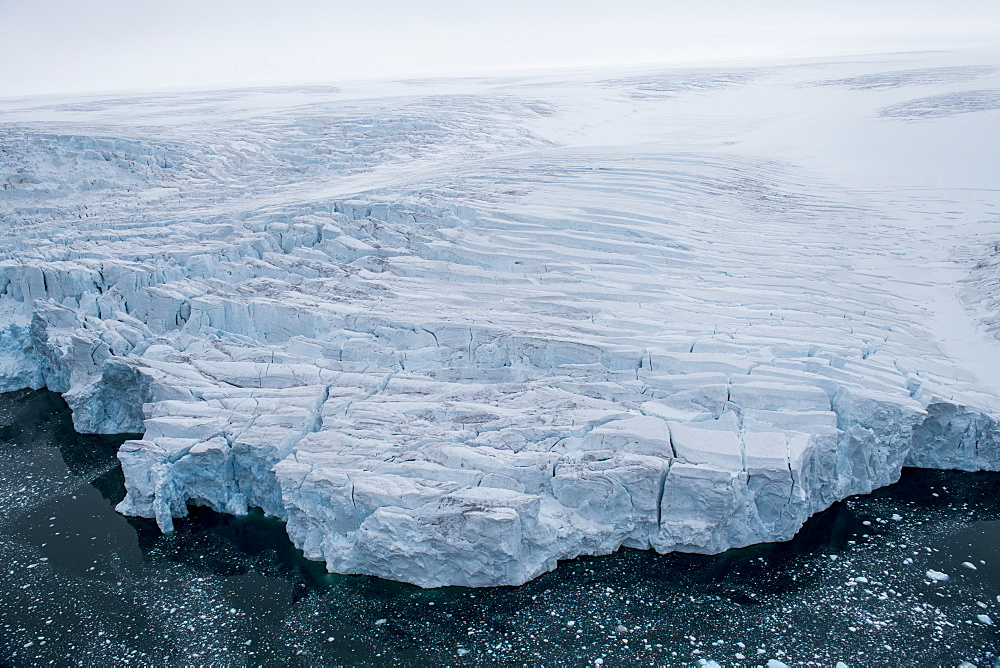 Aerial of the massive glacier of Alexandra land, Franz Josef Land archipelago, Russia