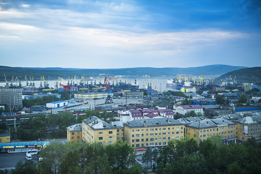 View over Murmansk at sunset, Murmansk, Russia, Europe