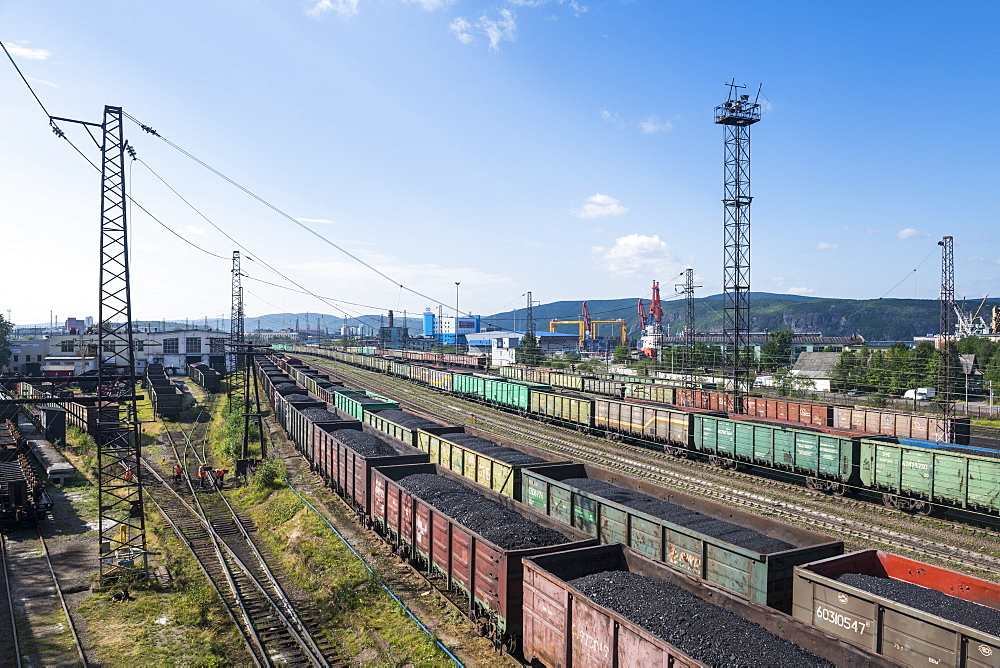 View over the Railway station in Murmansk, Russia, Europe