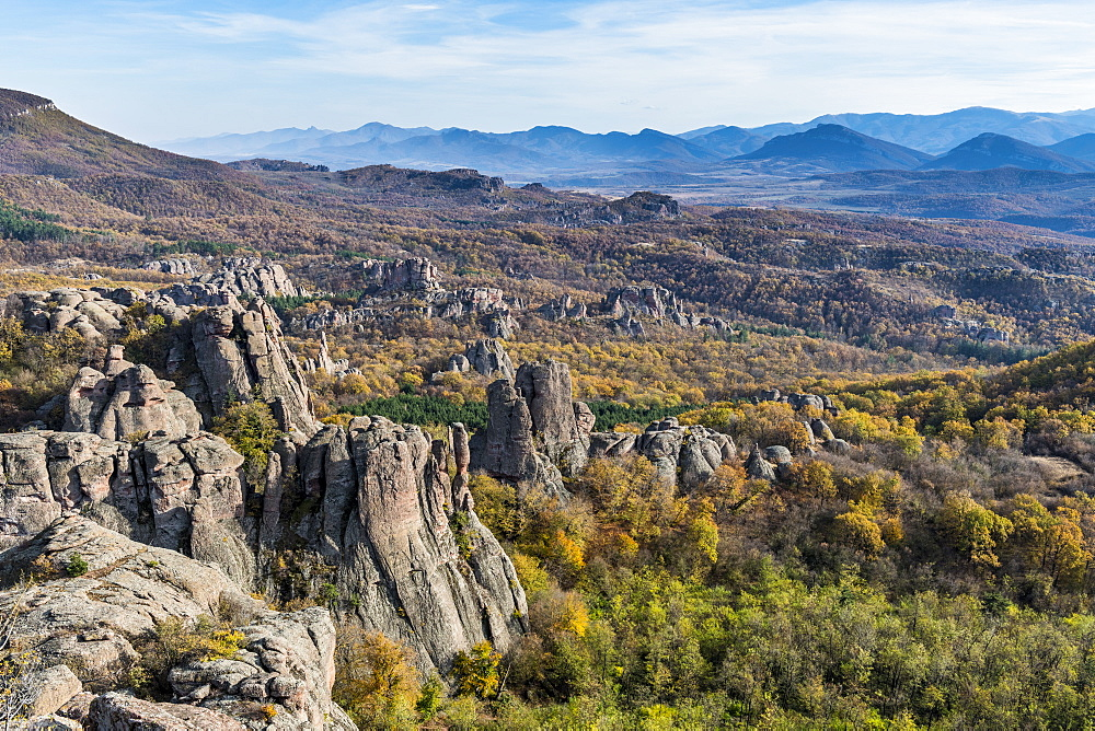 Kaleto Rock Fortress, view over the rock formations, Belogradchik, Bulgaria, Europe