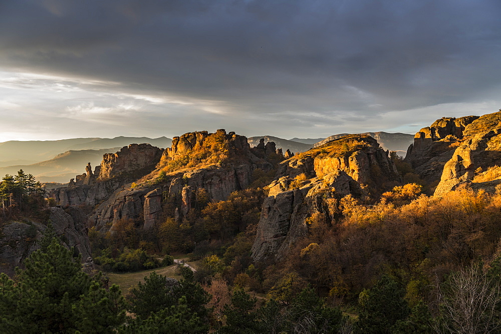 Early morning light over the rock formations of Belogradchik, Bulgaria, Europe