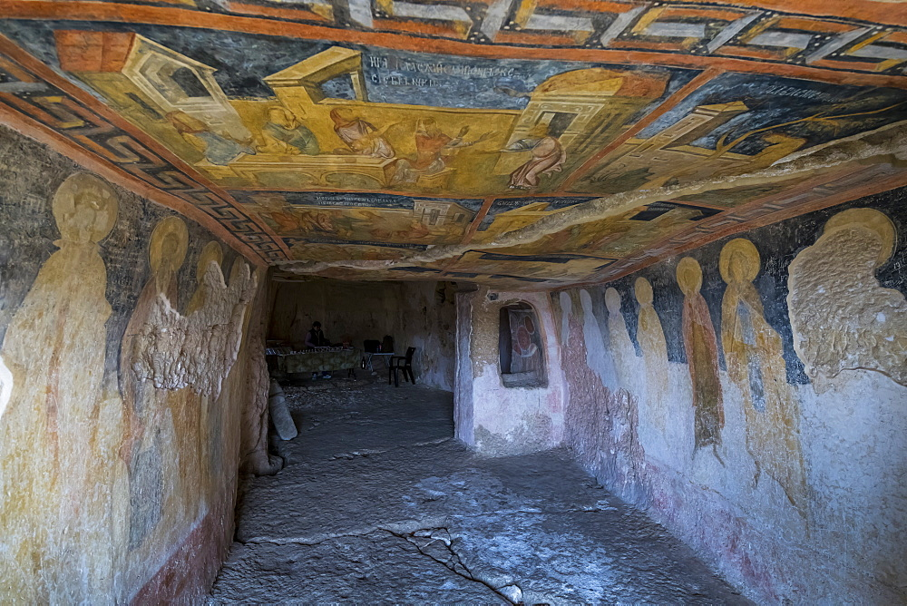 Panels depicting scenes from the Gospels,Ivanovo Rock Church The Holy Mother, UNESCO World Heritage Site, Roussenski Lom River Valley, Bulgaria, Europe