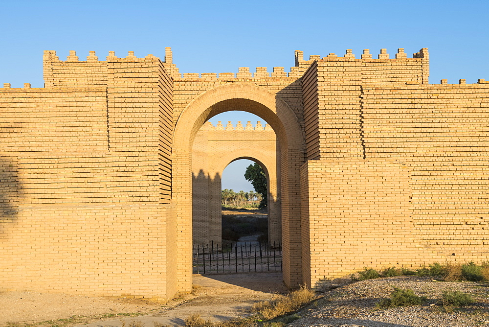 Reconstructed ruins of Babylon, Iraq, Middle East