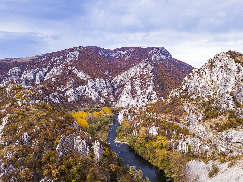 Aerial of Iskar Canyon in autumn, Bulgaria, Europe