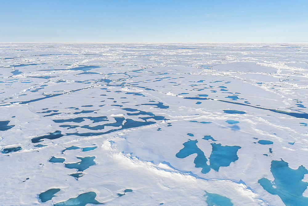 Aerial of the melting ice on the North Pole, Arctic
