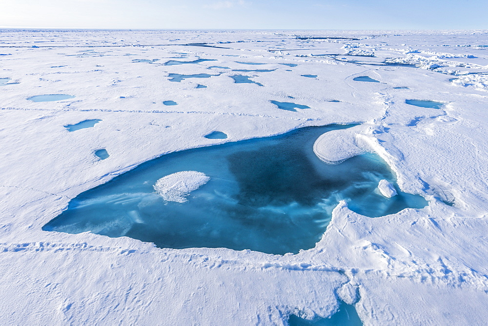 Breaking ice on the way up to the North Pole, Arctic